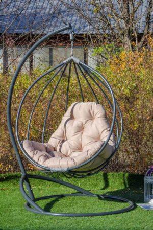 кресло кокон из металла Адель серая