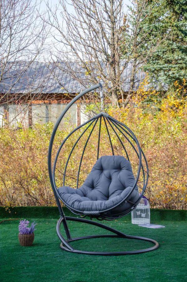 Кресло кокон Адель графит с серой подушкой габардин