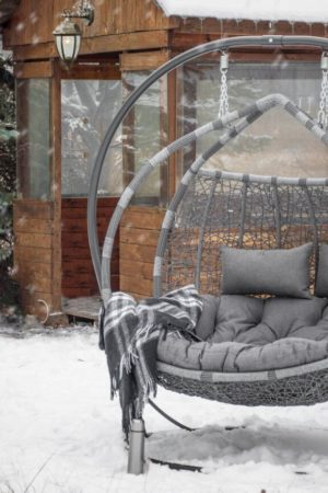 Подвесное кресло из ротанга Галант серый