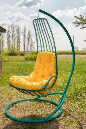 Подвесное кресло гамак Дели бирюза с жёлтой подушкой