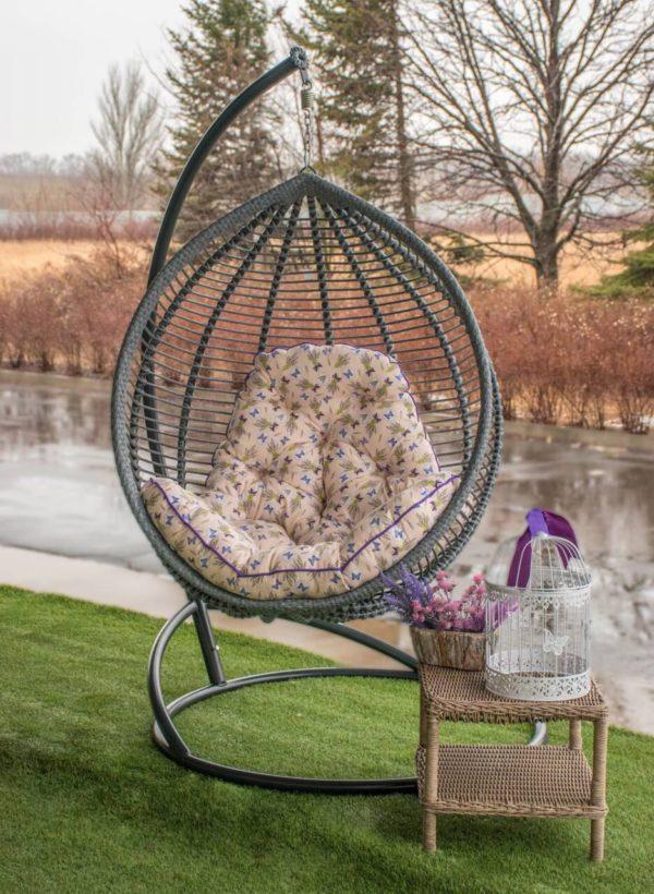 Подвесное кресло кокон Кит серое с подушкой лаванда