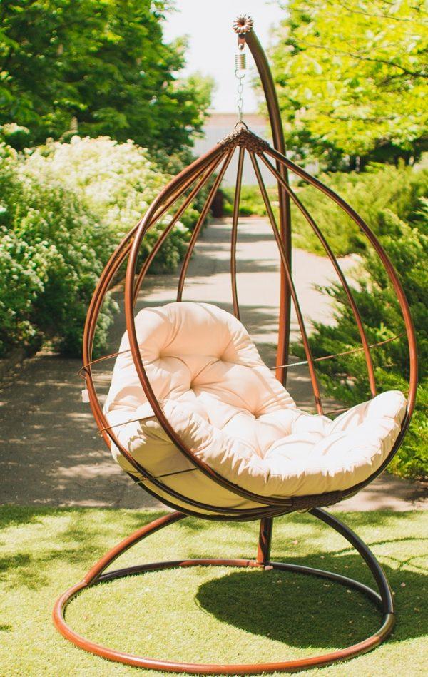 Подвесное кресло на стойке Адель шоколад с бежем