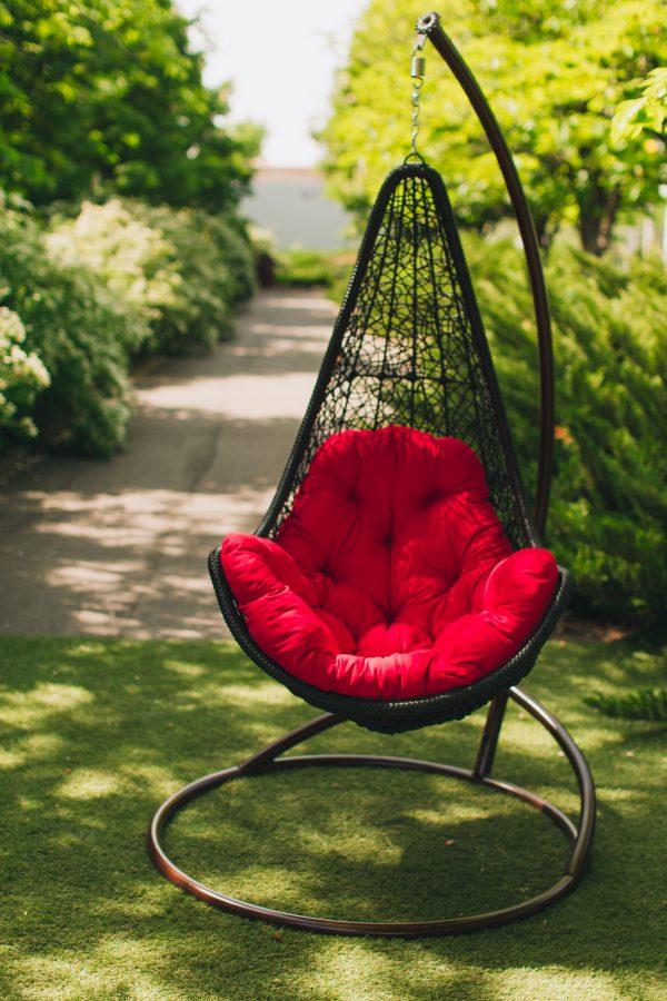 Подвесное кресло Леди ЮМК чёрное с красным
