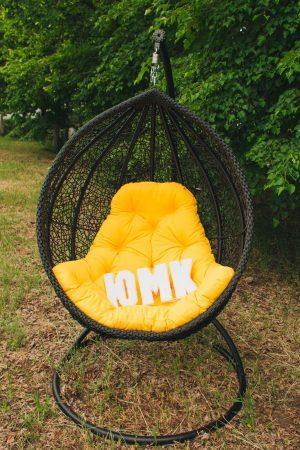 Кресло подвесное для дома Веста чёрное с жёлтым ЮМК