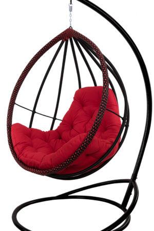 стильное подвесное кресло Хелена чёрное с красным