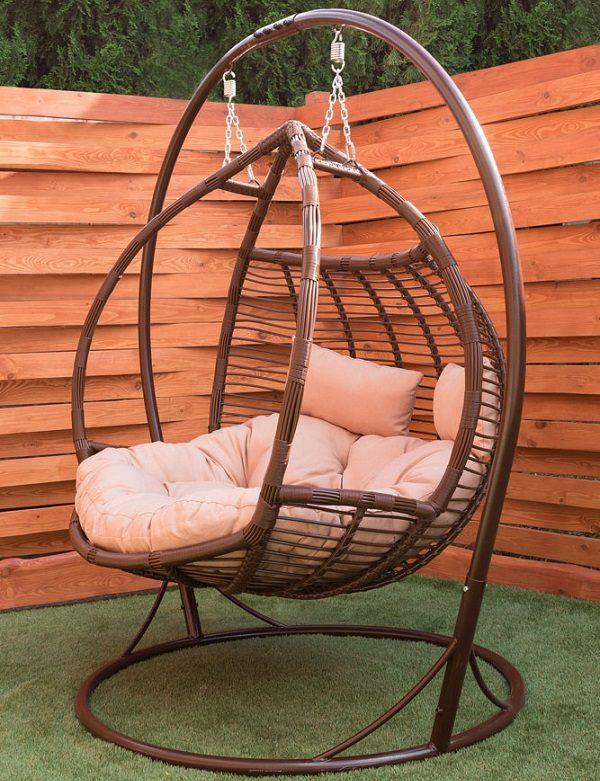 Двойное подвесное кресло галант шоколад с подушками люкс