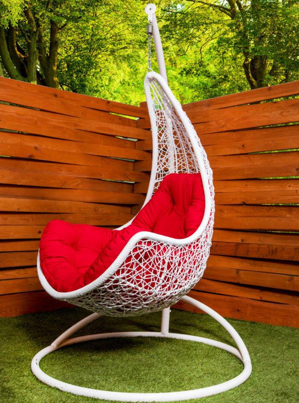 подвесное кресло гамак леди белое с красной подушкой