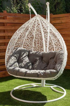 Белое подвесное кресло Дабл с серой подушкой