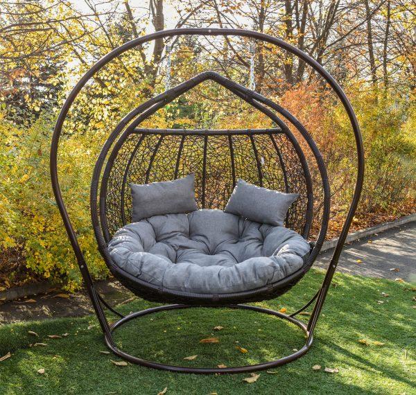 Кресло кокон для двоих Галант венге с серым люкс