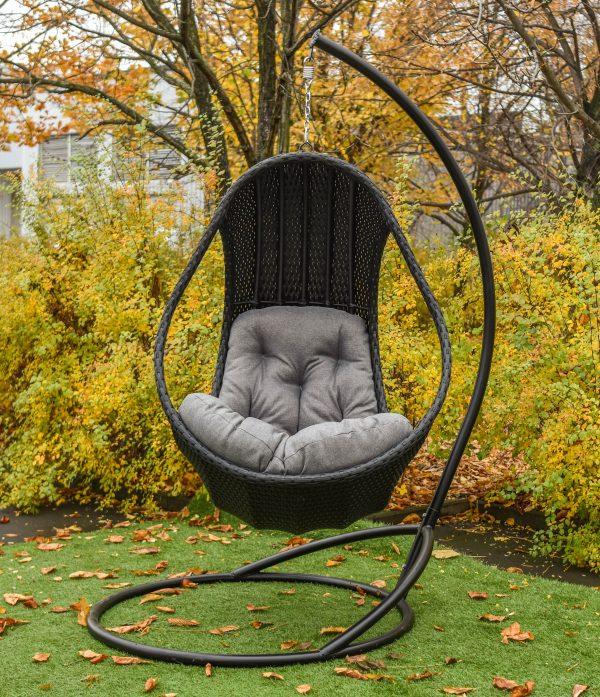 Серое подвесное кресло качалка Комфорт Люкс