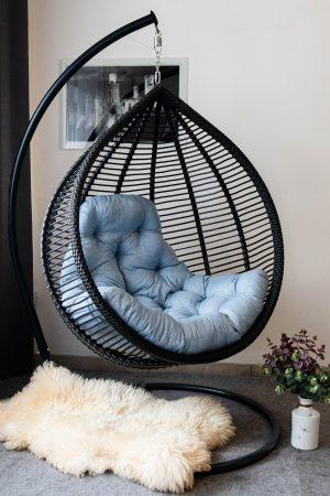чёрное кресло подвесное Кит от ЮМК Фабрики