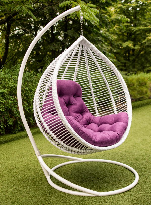 крісло кокон в білому кольорі Кит ЮМК фабрика