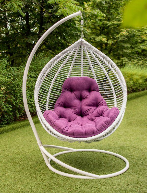 біле підвісне крісло Кит з подушкою люкс фіолет