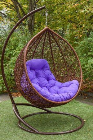 Кресло кокон Гарди Биг шоколад с фуксия