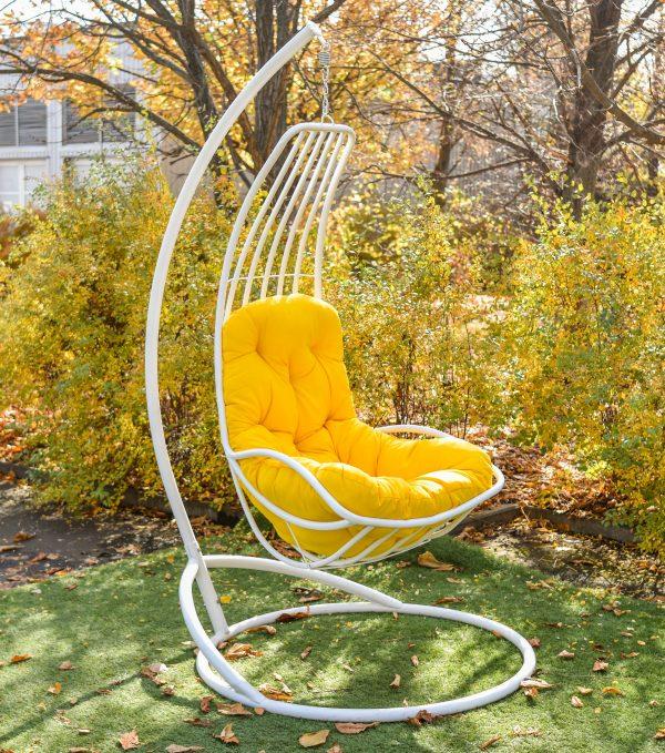 подвесное кресло Дели белое с жёлтым