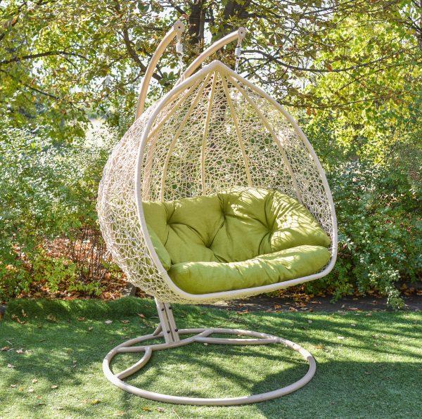 Бежевое подвесное кресло кокон Дабл