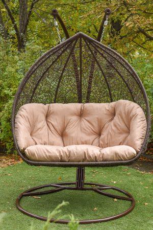 Кресло качели плетёные Дабл ЮМК коричневое с бежем