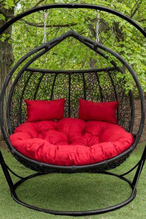 Подвесное кресло для двоих Галант чёрный с красным