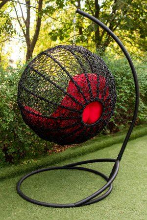 кресло шар с паутинкой плетение