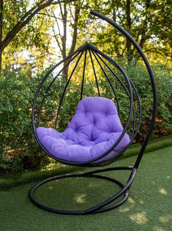 кресло металлическое подвесное Адель чёрное с фуксией
