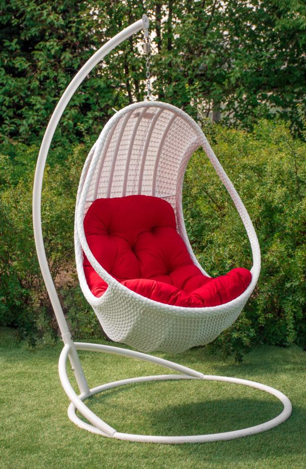 подвесное кресло комфорт люкс белое с красным