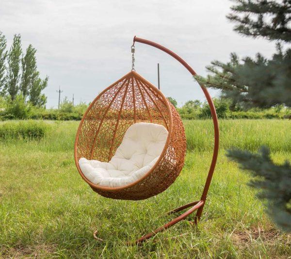 Кресло кокон Эмилия ЮМК лоза с подушкой шампань