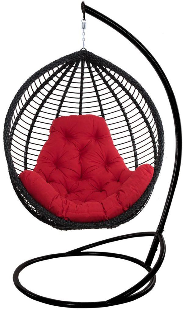 Кресло кокон Кит чёрное с красной подушкой
