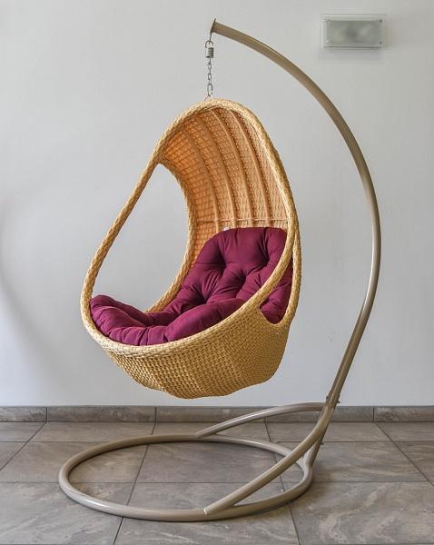 подвесное кресло комфорт люкс беж с фиолетовой