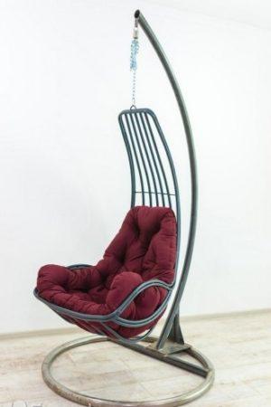 кресло гамак Дели на стойке чёрное с бардо