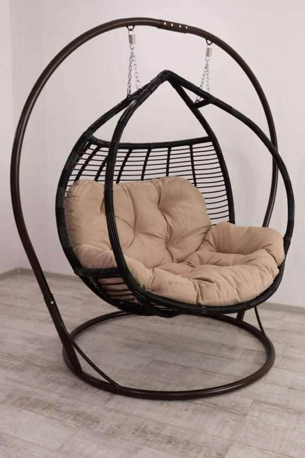 подвесное кресло качеля Галант полосатый чёрное