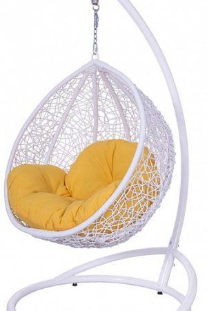 детское подвесное кресло белое с жёлтым