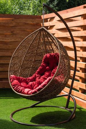 Подвесное кресло кокон лоза с подушкой люкс 14 красной