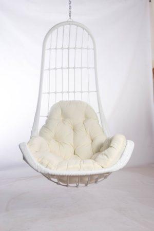 кресло легато белое с подушкой шампань