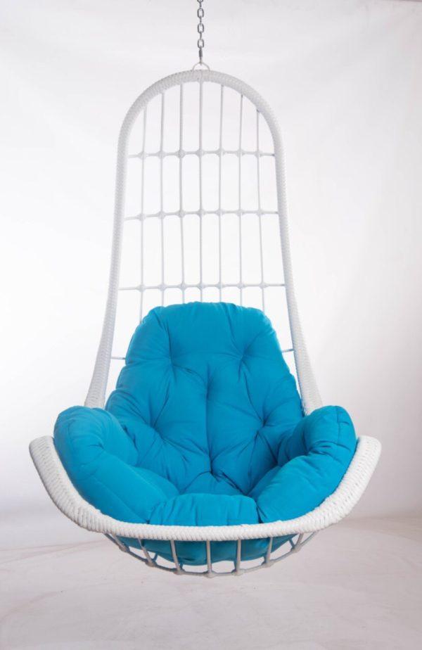 кресло из ротанга легато белое с голубой подушкой