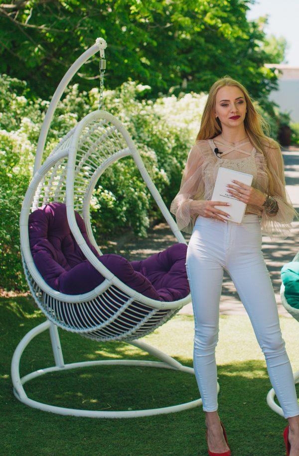Кресло гамак комфорт белое с фиолетовой подушкой