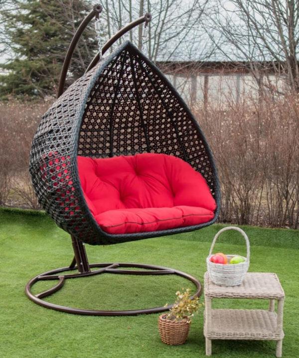 Подвесное кресло Дабл премиум чёрное с красной подушкой