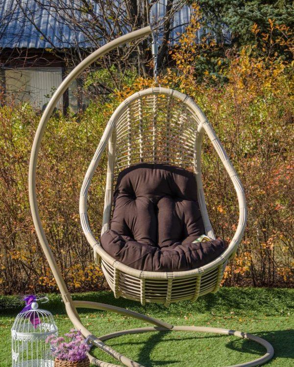 кресло подвесное комфорт беж с коричневым матрасом