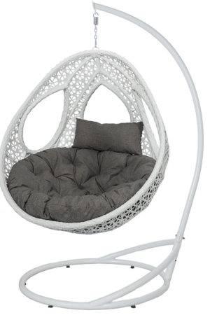 кресло кокон Одри белое с серой подушкой