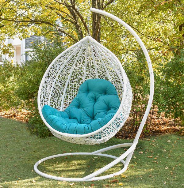 Белое подвесное кресло Гарди биг с голубой подушкой