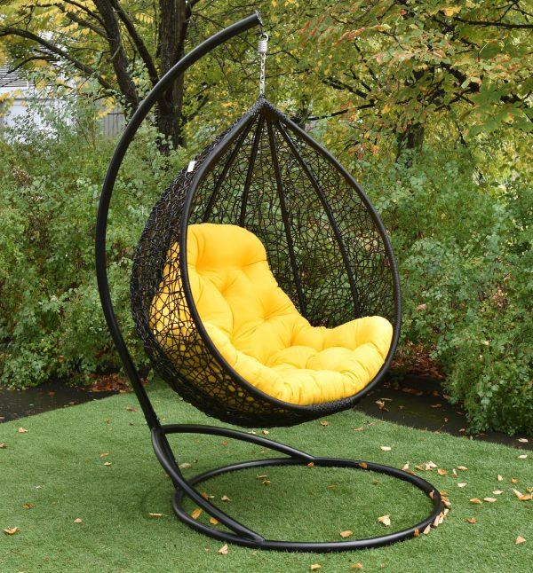 Подвесное кресло Гарди Биг чёрное с жёлтым