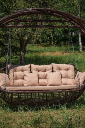 плетёная качеля диван из металла Мароу
