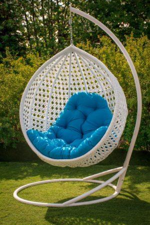 Кресло кокон подвесное Асоль белое с голубой подушкой