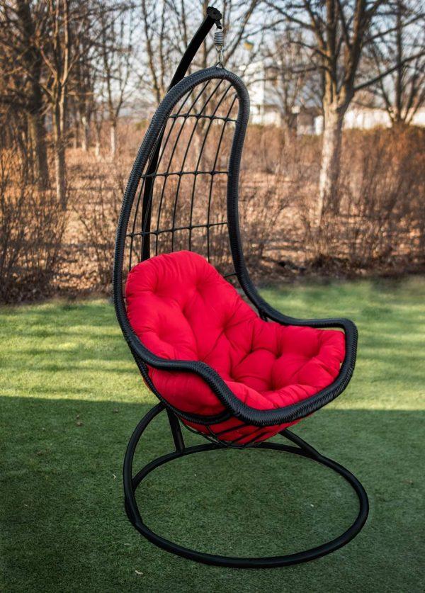 Кресло гамак подвесное Легато чёрное с красным