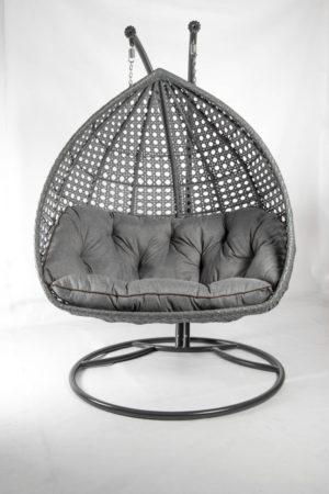 подвесное кресло качеля Дабл премиум серый