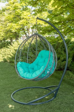 Подвесное кресло Эко премиум серое с бирюзовой подушкой