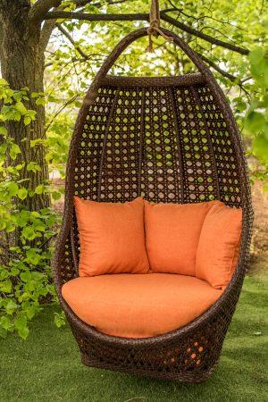 кресло садовое из ротанга Савана шоколад с оранжевым