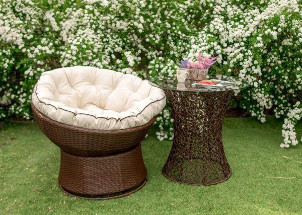 Кресло кокон стационарное и столик