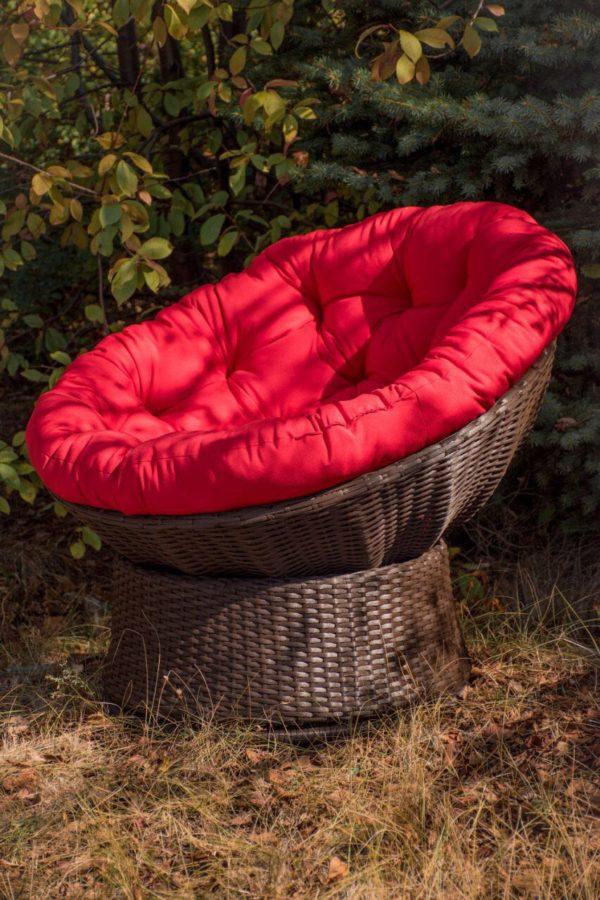 Кресло крутящееся Лази шоколад с красной мягкой частью