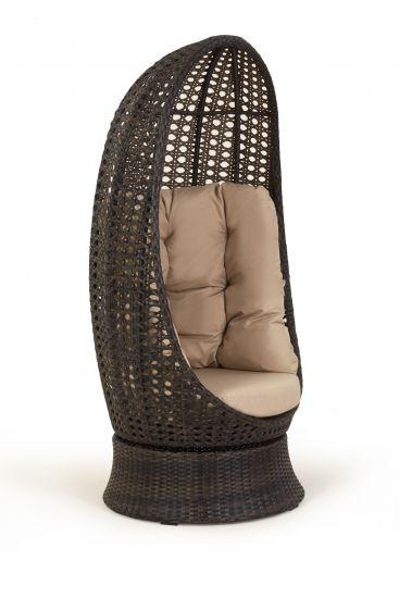 плетёное ротангом поворотное кресло аспекту