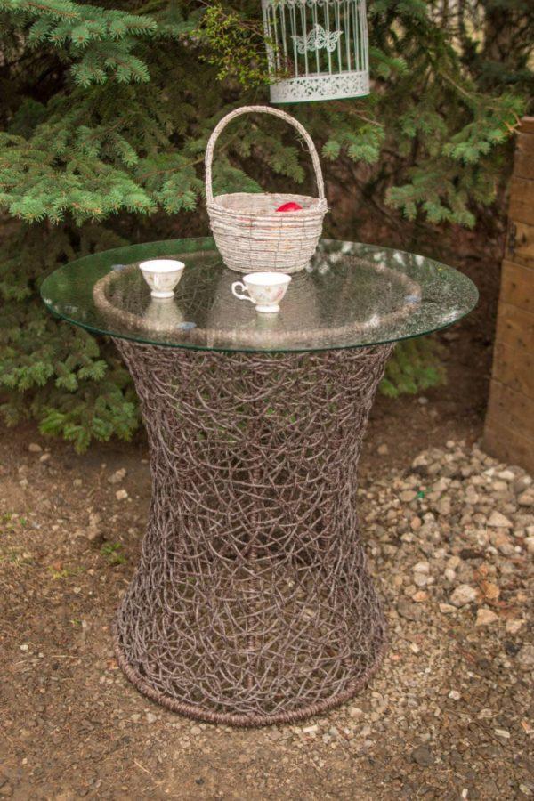 плетёный столик со стеклом ротанг рошен